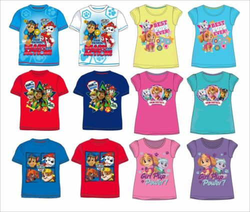 Boys Girls Official Paw Patrol Summer Short Sleeve T Tee Shirt Top 2-8 Years