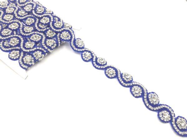 """11"""" Colore Royal Blue Bella Strass Nuziale Cintura Abito Nuziale Pizzo, Taglia"""