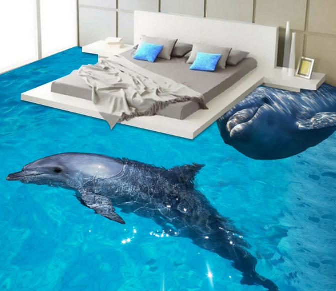 3D Cute Dolphin Sea 4 Floor WallPaper Murals Wall Print 5D AJ WALLPAPER UK Lemon