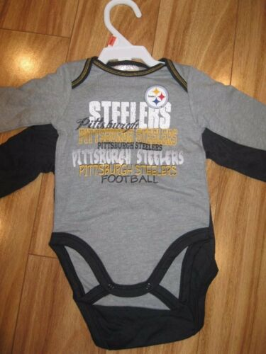 0//3 $7.99 NWT Pittsburg Steelers 2 Pc Long Sleeve Bodysuit Set 3-6 /& 12 Mo
