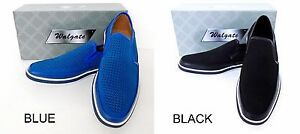 Men-039-s-WALGATE-Blue-Black-Slip-on-loafers-leather-lining-casual-dress-shoes-8921