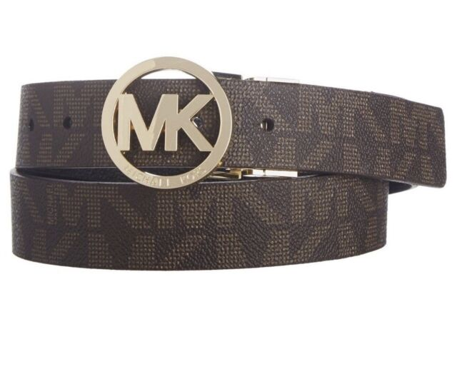 7f9d33a8b MICHAEL KORS WOMEN'S REVERSIBLE CIRCLE MK LOGO BELT BROWN BLACK 551342 Size  XL