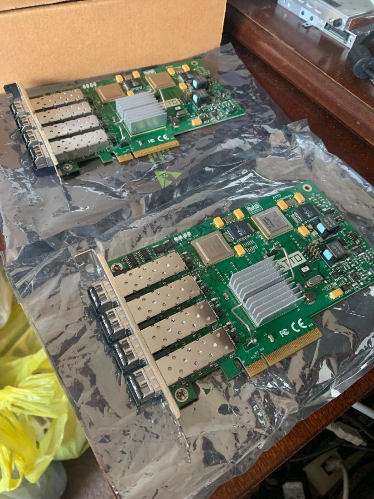 (4) ATTO FC-44ES 4Gb/s PCIe fibre channel HBA cards for sale togther
