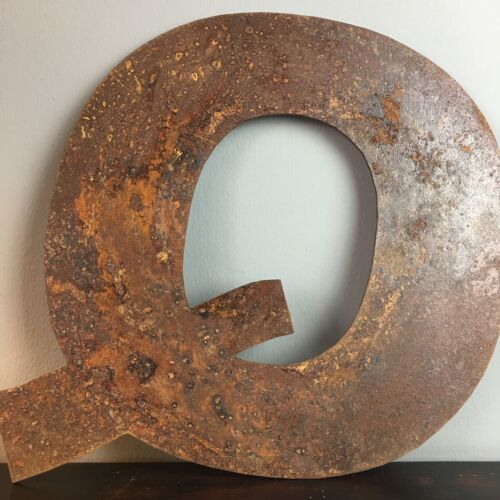 Q Industrial Rusty Lettering Letters Sign Metal Shop Front Home Font 12inch