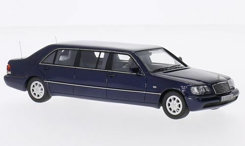 Neo 45360-mercedes w140 stretch limousine bluee metallic 1 43