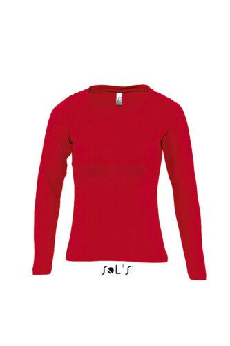 Damen Longsleeve langarm T-Shirt Sols L245  Frauen Oberteil Rundhalsausschnitt