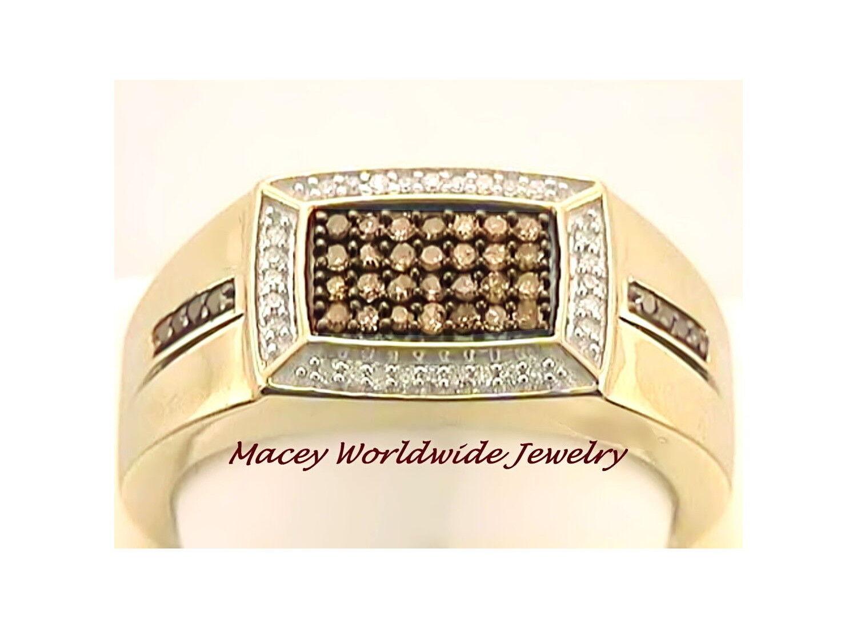 Brandy Diamond® Chocolate Brown Men's 10K gold Gorgeous Ring .36Ct