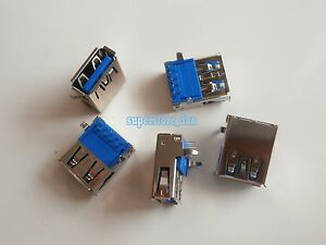 5X-USB-3-0-Type-A-Female-9-Pin-90-DIP-SMT-SMD-Socket-Connector-Curved-Legs