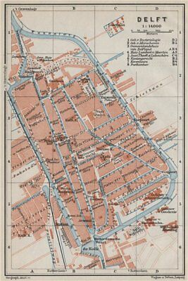 Netherlands kaart AMSTERDAM antique town city stadsplan BAEDEKER 1910 map