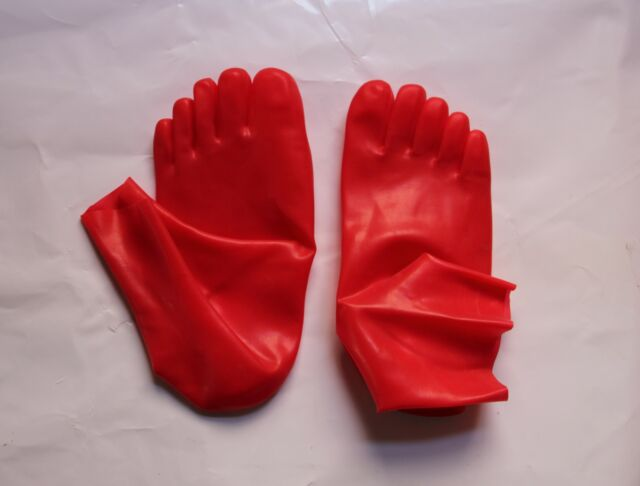 CHAUSSETTES LATEX avec ORTEILS  RARE ! 5 toes rubber socks - ROUGE taille S