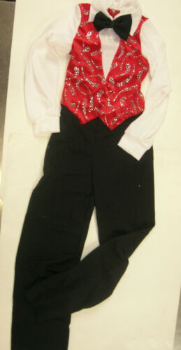 DANCE GLITTERED JUMPSUIT ZIPPERBACK Mens RED Velvet vest black pants w//bowtie
