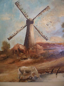 ANTIQUE-VINTAGE-OLD-LANDSCAPE-OIL-PAINTING-ON-BOARD-DUTCH-WIND-MILL-WHITE-HORSE