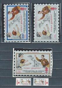 France-Anti-TB-1956-1957-never-hinged-stamps-and-large-labels-Cinderellas