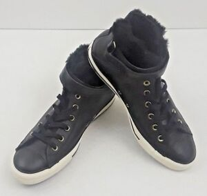 23ee643bc912 Details about Converse Chuck Taylor All Star Brea Leather Fur High Top  Black Women s Size 11