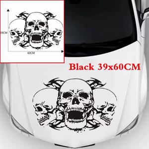 DIY Black 39x60cm Triple Skull Head Sticker Vinyl Graphics Decal For Car Hoods