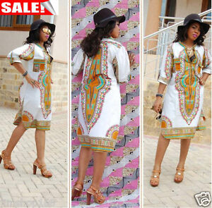 Womens-Summer-Casual-Deep-V-Neck-Traditional-African-Print-Party-Cocktail-Dress