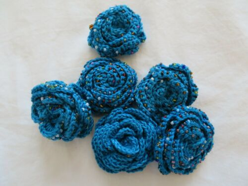 Brooch. Glass Beads. 4 x Handmade Crochet Roses. Applique Embellishment