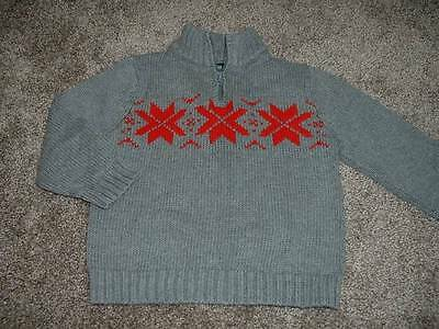 OshKosh B'Gosh Gray Red Fair Isle Sweater Baby Boys Size 24 months 24M Winter