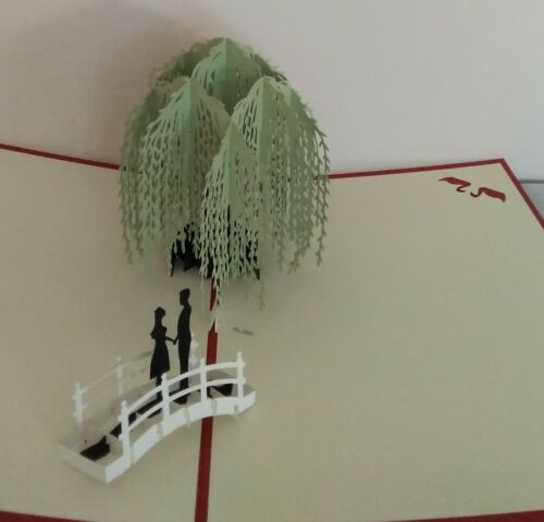 Couple on Bridge under Willowtree with Swan 3D Kirigami Pop-up Greeting Card