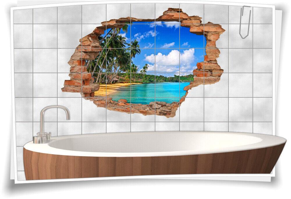 Fliesen-Bild Wand-Durchbruch 3D Fliesen-Aufkleber Urlaub Strand Meer Himmel
