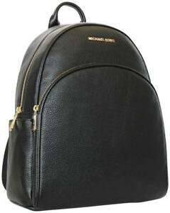 d922c1821b5e Image is loading Michael-Kors-Abbey-Large-Black-Leather-Backpack-Book-
