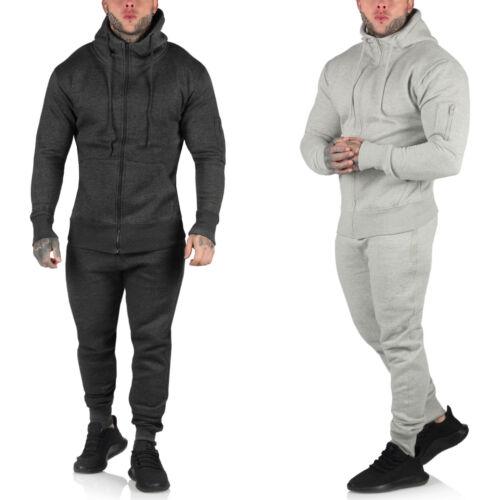Mens Slim Fit Tracksuit Set Fleece Hoodie Full Top Bottoms Jogging Joggers Gym