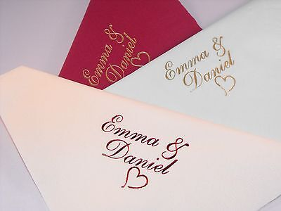 100 X 40 cm Personalised Luxury 3 Ply Wedding  Napkins (Europe delivery)