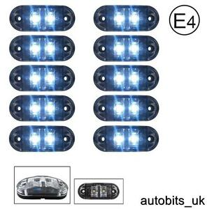 10x-Clear-White-24v-2-Led-Side-Front-Marker-Lamps-Lights-Truck-Lorry-E-Mark