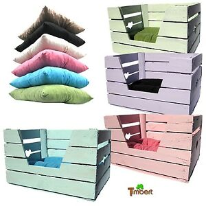 katzenkorb kissen katze hund tierbett holzkiste alte obstkiste pastell shabby ebay. Black Bedroom Furniture Sets. Home Design Ideas