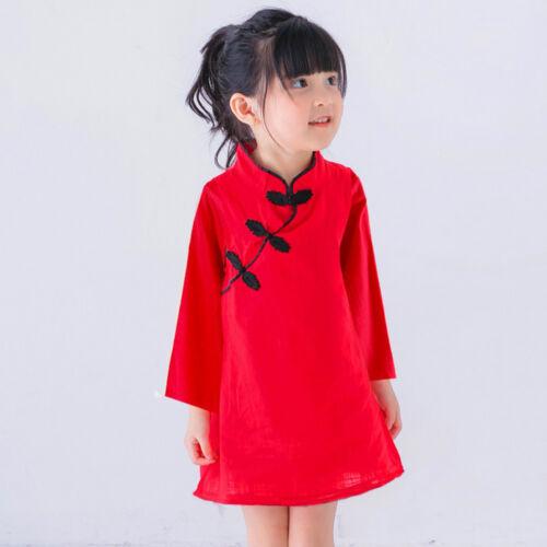 Kids Toddler Girl Baby Long Sleeve Cheongsam Xmas Party Wedding Princess Dresses