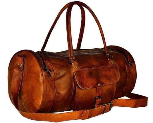 "24/"" New Round Large Men/'s Luggage Leather Travel Shoulder Duffle Gym Bags"