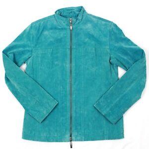Details zu Chico's Lederjacke Damen S Türkis Reißverschluss Blau Futter Business Freizeit