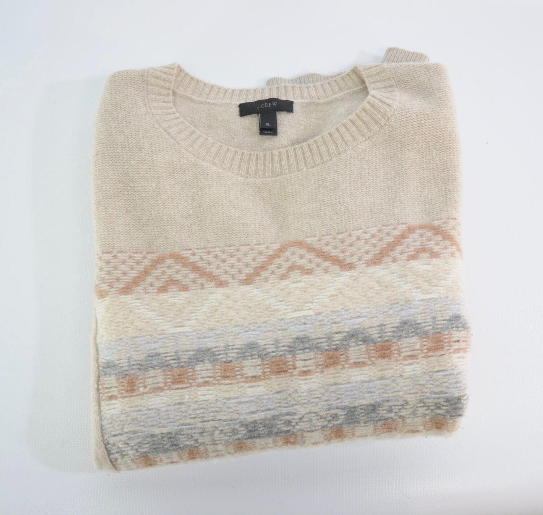 J. Crew Jacquard Stitch Fair Isle 100% Wool Cream White orange Nordic Sweater XL