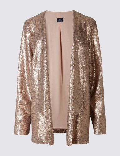 New M/&S Petite Collection Rose Gold Sequin Open Front Jacket Sz UK 8