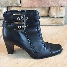 Harley Davidson Black Zip Heel Ankle Boots Buckles Womens US 6 M Sample Project