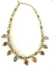 BRIGHTON-Necklace-Multicolor-Swarovski-Crystals-amp-Silver-Tone-16-034-Jewelry-Lovely