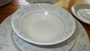 Blue-White-Fine-China-Dinnerware-Set-Blue-Floral-Design-rimmed-Platinum-29-pcs