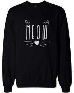 Meow-Cute-Kitty-face-Women-039-s-Sweatshirt-Crewneck-Pullover-Fleece-Cat-Lovers