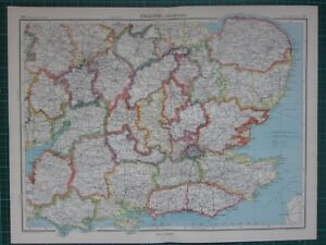 Carte Norfolk Angleterre.Collections Cartes 1952 Grand Carte Angleterre South East