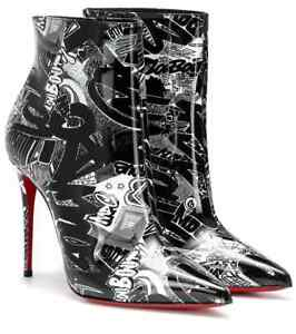 5d18a8e8739 Details about CHRISTIAN LOUBOUTIN Graffiti Nicograf Patent Leather Booties  Boots BRAND NEW
