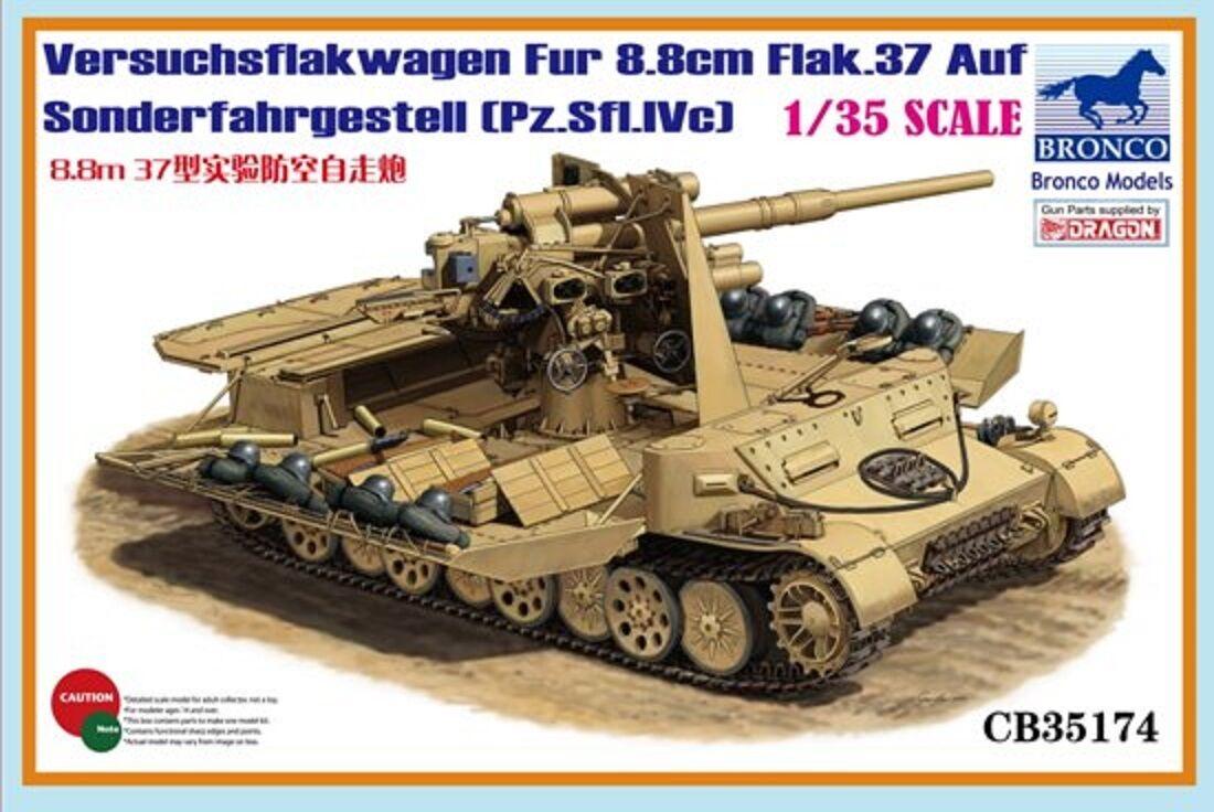 1 35 BRONCO 35174 Grille Versuchsflakwagen 8.8cm Flak 37 auf Sonderfahrgestell
