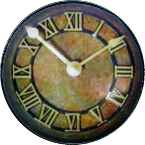 1 inch Crystal Dome Button Rustic Steampunk Clock Face #21  FREE US SHIPPING