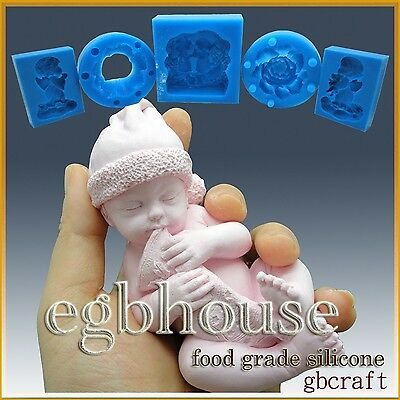 3D Silicone sugar/fondant/chocolate Mold-Lifelike/Newborn Baby Dell(2 part Mold)