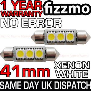 2x-41mm-3-SMD-LED-264-C5W-CANBUS-NO-ERROR-FREE-WHITE-INTERIOR-LIGHT-FESTOON-BULB