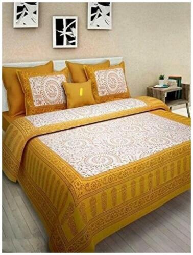NIKHILAM Cotton Rajasthani Jaipuri Print King Size Bedsheet 240-YLG