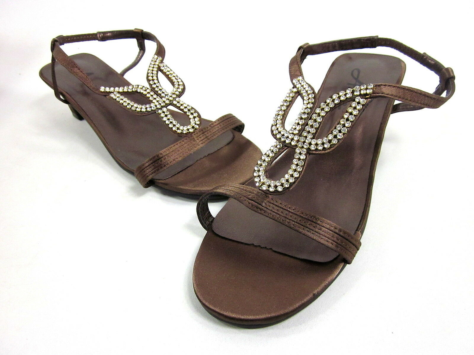 ANNIE SHOES, LIZZY SANDAL, BRONZE SATIN, WOMENS, US THE 7.5 WW, NEW WITHOUT THE US BOX 9f66d8
