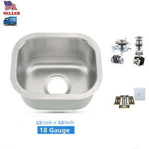 13-034-x13-034-Undermount-Small-Bowl-Kitchen-Bar-Prep-Sink-Stainless-Steel-New