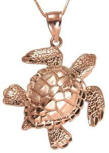 14k rose gold hawaiian sea ocean turtle honu pendant extra shiny image is loading 14k rose gold hawaiian sea ocean turtle honu aloadofball Image collections