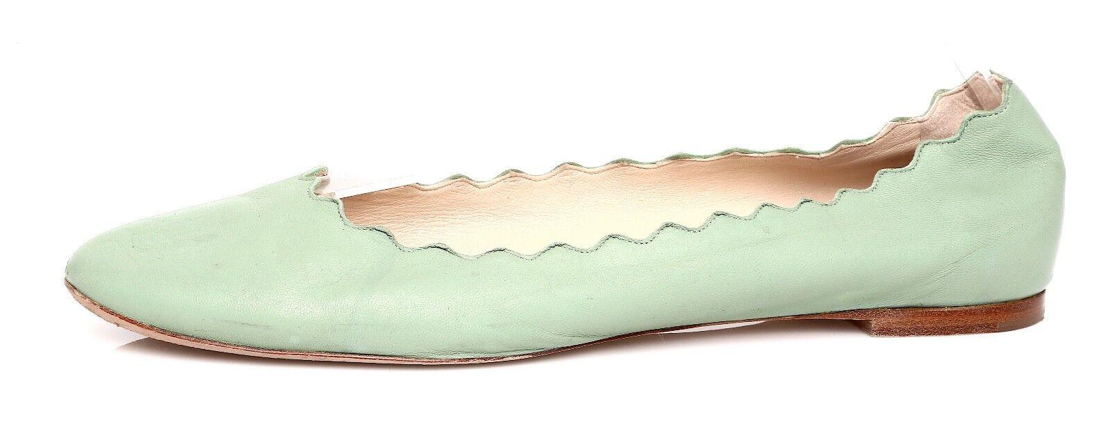 Chloe Lauren festoneado Ballet Cuero Plano verde verde verde Mujeres Talla 40.5 EUR 1510  almacén al por mayor