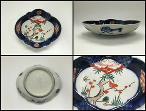 Japanese Porcelain Dish Plate Vintage Old Imari Ware Hand Paint Pine Plum F056